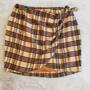 Vintage Forenza silk plaid faux wrap skirt.